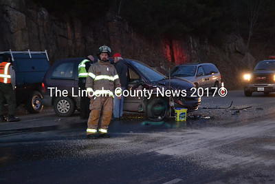 Two vehicles collided at the intersection of Rt. 1 and Rt. 27 the evening of Jan. 9. (A. Brodsky photo)
