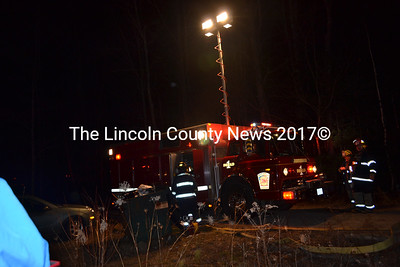 Farmingdale's rescue unit lit up the scene in Whitefield for Lincoln County responders Dec 28. (Sherwood Olin photo)