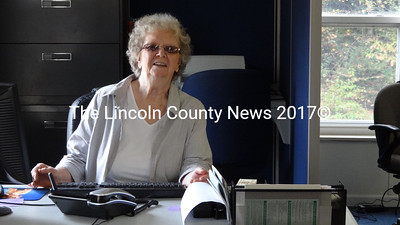 Somerville Town Clerk Ernestine Peaslee, at her desk in the new Somerville Town Office. (Shlomit Auciello photo)