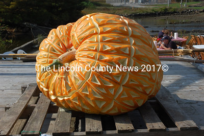 David Whitney grew and George Mason did the ornate carving of the Damariscotta Mills fish ladder pumpkin. (J.W. Oliver photo)