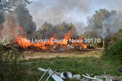 Edgecomb Fire Department performed a controlled burn of an unsafe building on Oct. 6. (D. Lobkowicz photo)