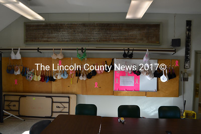 """Bra Art"" in honor of breast cancer awareness hangs in the meeting room of the Wiscasset Municipal Building. (D. Lobkowicz photo)"