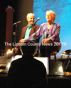 """Andrew Fenniman and Nancy Durgin, with John Mulcahy on the piano, charmed with a medley of songs from"""" Singing in the Rain"""" to """" Call Me Up Some Rainy Afternoon."""""""