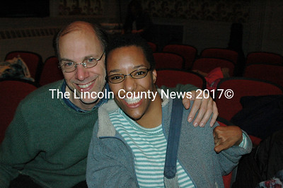 Elizabeth Meade and her dad at the Lincoln Theater in Damariscotta.