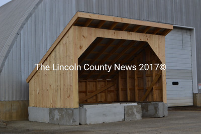Whitefield's new salt sand shed, located next to the town's recycling center. (D. Lobkowicz photo)