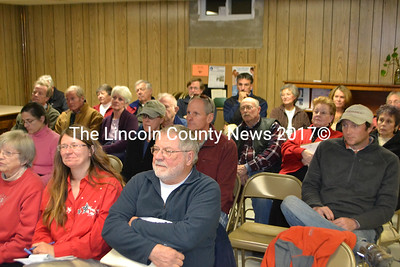 Edgecomb residents listen intently at the special town meeting Nov. 19. (D. Lobkowicz photo)