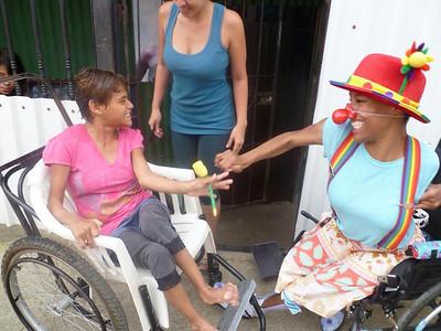 Elizabeth Meade clowning with Ingrid In La Carpio.
