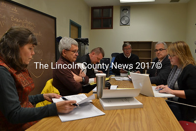 From left: RSU 12 board Chair Hilary Holm, ad hoc Withdrawal Committee members Gerald Nault and James Bailey, interim Supt. Alan Hawkins, Bill Stockmeyer, and committee Chair Malinda Caron. (D. Lobkowicz photo)