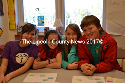 The sixth grade members of the Edgecomb Eddy School's Civil Rights Team, from left: Allyson Barter, Emily Harris, Loren Genrich, Alex Hibbard. (D. Lobkowicz photo)