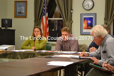 Wiscasset Withdrawal Committee Chair Mary Meyers, member Jeff Slack (center), and educational consultant Raymond Poulin. (D. Lobkowicz)