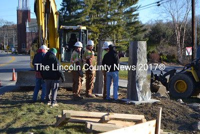 Granite pillars will support the new Twin Villages sign in Newcastle. (D. Lobkowicz photo)