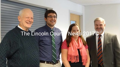 Waldoboro Selectman Ted Wooster greets Community Pharmacies Pharmacist Brandon Archibald, Clinical Pharmacist Amelia Arnold and President and CEO Joe Bruno. Wooster will work at the Community Pharmacy of Waldoboro when it opens Jan. 7. (Shlomit Auciello photo)