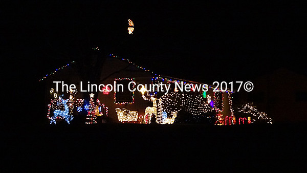 Passersby on Morgan Hill Road in Nobleboro are treated to a colorful holiday display. (Shlomit Auciello photo)