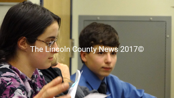 Student representatives Brianna Gross and Aaron Smeltzer listed to a report from Waldoboro Police to the Regional School Unit 40 Board of Directors. (Shlomit Auciello photo)