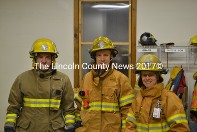 Westport Island firefighters Jason Abbott (left), Paul Bonyun, and Libby Mooney are participating in the Fight For Air Climb, a fundraiser for the American Lung Association. (D. Lobkowicz photo)