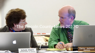 Regional School Unit 40 Supt. Susan Pratt speaks with Board of Directors Chairman Danny Jackson, of Waldoboro, during the board's Dec. 20 meeting. The board extended Pratt's contract until June 30, 2015. (Shlomit Auciello photo)