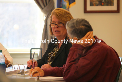 Wiscasset Town Manager Laurie Smith (left) with Selectman William Curtis at the town of Wiscasset annual budget meeting on April 7. (Julia Workman photo)