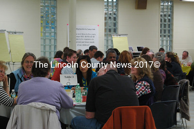 More than 80 community members turned out for a World Cafe brainstorming session at Medomak Valley High School March 31. (E. Busby photo)