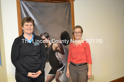 ComeFit Zone co-owners Wendy Pendleton and Judy Woodward eagerly await their open house at their new location on Bristol Road April 12. (Kim Fletcher photo)