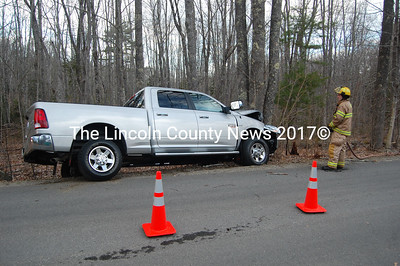 "The driver of this Ram 2500 was traveling north on Poor Farm Road in Bristol when he ""possibly fell asleep,"" Bristol 1st Assistant Fire Chief Jared Pendleton said. The Ram left the roadway and hit a tree. The Central Lincoln County Ambulance Service transported the driver to Miles Memorial Hospital with non-life-threatening injuries. ""Seatbelts and airbags are a wonderful thing,"" Pendleton said. The Lincoln County Sheriff's Office also responded to the scene. (J.W. Oliver photo)"