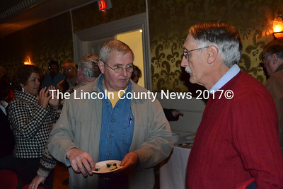 Maine Coast Book Shop owner Barnaby Porter with Damariscotta architect George Parker are two local businessmen attending the Twin Villages Downtown summit at Lincoln Theater, March 29. (Kim Fletcher photo)