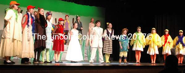 "The cast takes a curtain call following their perfomrmance of ""Honk Jr"" last weekend. (E. Busby photo)"