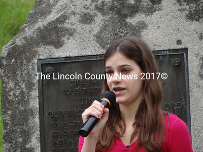"Addison Vermillion sings ""The Star Spangled Banner"" at Waldoboro's 2012 Memorial Day ceremony, May 28. (Shlomit Aucielo photo)"
