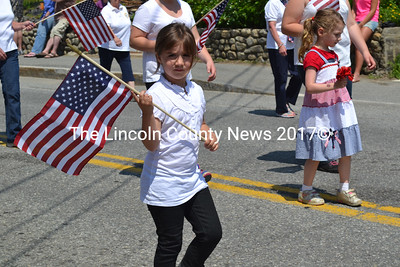 Carrying the nation's colors in the Damariscotta-Newcastle Memorial Day parade.