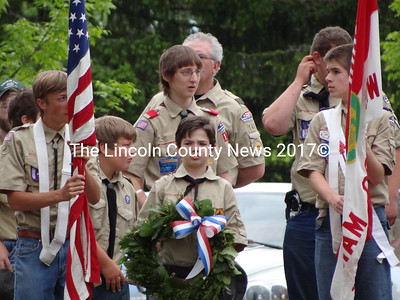 Boy scouts carry the colors and a wreath in the 2012 Memorial Day parade in Waldoboro. (Shlomit Auciello photo)