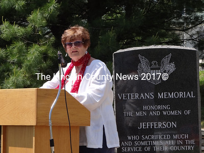 Trudy Souci was master of ceremonies at Jefferson's May 27 Memorial Day event. (Shlomit Auciello photo)
