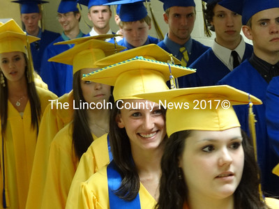 The Medomak Valley High School Class of 2012 marches to commencement excercises. (Shlomit Auciello photo)