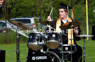 "Jake Daly-O'Donnell plays the drums during a performance of ""The Chicken."" (Elizabeth Atwater photo)"