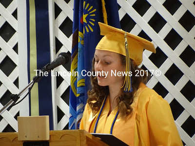 Medomak Valley High School Class of 2012 President Julianna Ennamorati, of Waldoboro, welcomes parents, family members and friends to the commencement ceremony. (Shlomit Auciello photo)