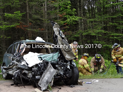 SUV is completely totaled due to a head-on collision June 8 that claimed one life in Waldoboro. (S. Auciello photo)
