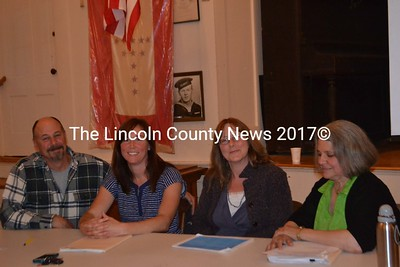 The Westport Education Committee, left to right, Richard Gray, Angie Calvo, Michelle Chartier, and Anne Cole-Fairfield (chair), researched Westport Island's costs and interviewed parents to get a full picture of how leaving RSU 12 would affect the town. (Honora Perkins photo)
