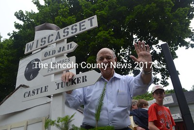 Wiscasset Selectman Ed Polewarczyk on the Wiscasset Chamber of Commerce float in the Fourth of July parade. (H. Perkins photo)