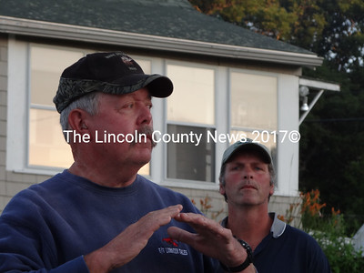 New Harbor Lobster Co-op President Brian Sawyer, left, calls on harvesters to unite after a meeting that took place in Port Clyde, at which Zone D lobstermen called for boats to remain on their moorings through the weekend. (Shlomit Auciello photo)
