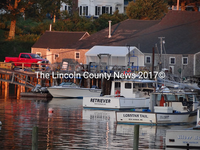 Lobsterboats in New Harbor and other Lincoln County ports are likely to remain on their moorings through the coming weekend, as fishermen join together to call for a rise in prices they are paid for their catch. (Shlomit Auciello photo)