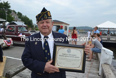 Jim Seigars received the Town of Wiscasset Service Appreciation Award during the Veterans Memorial Salute and Flag Raising ceremony at the Wiscasset waterfront on July 4th. (H. Perkins photo)