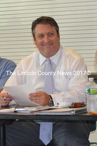 Lincoln Academy Board of Trustee Todd Savage during the annual meeting. Savage is the incoming trustee president, following outgoing president Laurel Bouchard. (Kim Fletcher photo)
