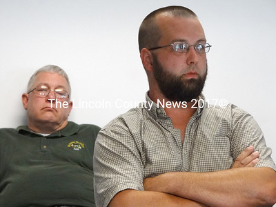 Waldoboro Budget Committee member Duncan Morrell listens to debate about cutting a detective position at the police department. (Shlonit Auciello photo)