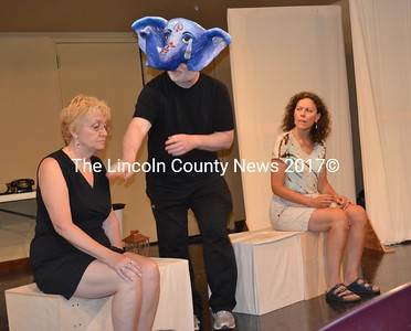 "Nancy Durgin (Margaret), Joe McGrann (Ganesha) and Natasha Salvo (Katherine) rehearse for River Company's ""A Perfect Ganesh,"" directed by Tom Handel. (K. Fletcher photo)"