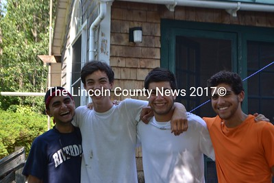 Left to right: Milad Momeni, Jake Orbison, Jay Dessy, and Lucas Onetti worked on the Hamilton Farm in early July as part of the WWOOF program, before heading off to college  (Honora Perkins photo)