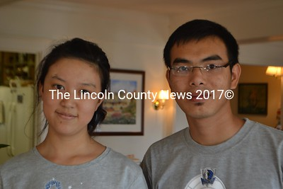 Penny Zheng, 20, of Yunnan China, and Ben Zheng, 23, of Ho Chi Minh City, Vietnam, work at the Five Gables Inn for the summer in East Boothbay. (H. Perkins photo)