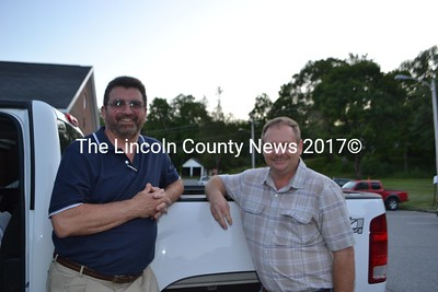 Wiscasset Municipal Airport manager Ervin Deck, left, with the Airport Committee chairman Ken Boudin, after the selectmen's meeting July 17. (H. Perkins photo)