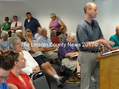 Central Lincoln County YMCA Executive Director Craig Wilson tells Waldoboro selectmen and citizens about the services his organization offers on a daily basis at their facility in Damariscotta. (Shlomit Auciello photo)