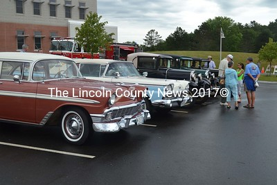 Cars line up for the classic car show in front of the Jefferson Village School Saturday. (Sherwood Olin photo)