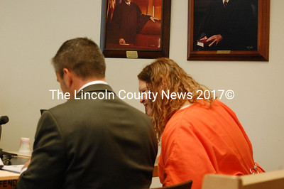 Arline Lawless appears in Lincoln County Superior Court alongside her court-appointed attorney, Philip Cohen, the afternoon of Aug. 17. (J.W. Oliver photo)