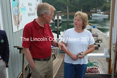 King talks lobster with South Bristol Fisherman's Co-op manager Brenda Bartlett. (J.W. Oliver photo)
