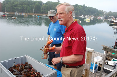 U.S. Senate candidate and former Gov. Angus King holds up a lobster at the South Bristol Fisherman's Co-op as co-op employee Norman Wright looks on. King visited Damariscotta, Newcastle, South Bristol, Waldoboro and Wiscasset Aug. 3. (J.W. Oliver photo)